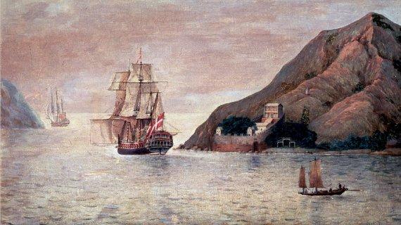 De Conincks Kinafarer Henriette malet af en kinesisk kunstner 1798
